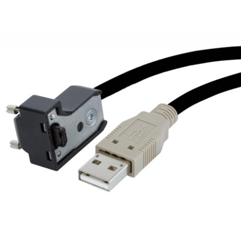 USB 2.0, cable estándar,  ángulo, atornillable, 5 m
